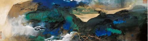 张大千泼彩山水《爱痕湖》拍出1.008亿元